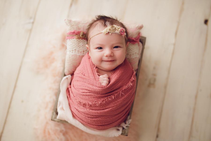 smiling newborn, baby girl, ottawa newborn photographer